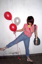 red quincy top - blue Mango jeans - white Vincci shoes - green Mimco accessories