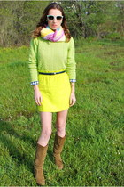 lime green JCrew sweater - olive green suede Michael Kors boots