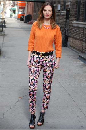 carrot orange cashmere sweater - floral cotton H&amp;M pants