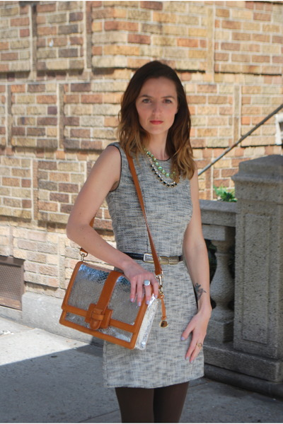 heather gray H&M dress - silver Brahmin Atelier bag - aquamarine JCrew necklace