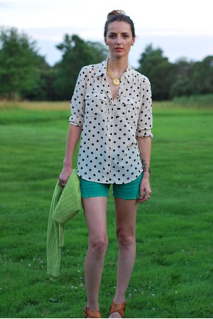 white JCrew blouse - green free people shorts