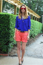 blue silk J Crew shirt - salmon lobster print Old Navy shorts
