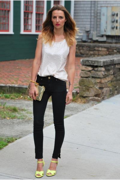 black Zara jeans - ivory JCrew shirt