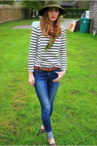 navy striped top JCrew shirt - blue Joes Jeans jeans - sweater