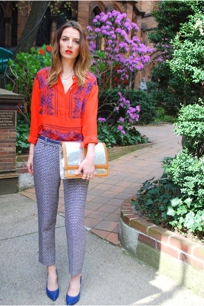 red silk JCrew blouse - silver clutch brahmin bag - navy tweed JCrew pants