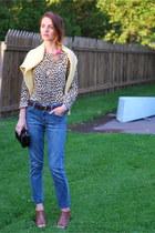 blue boyfriend goldsign jeans - brown Anna Luz wedges