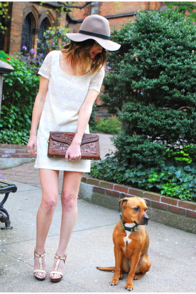 heather gray brixton hat - ivory eyelet shift Urban Outfitters dress