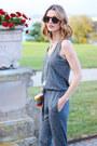 Heather-gray-jumpsuit-marshalls-romper-silver-snake-print-talbots-sandals