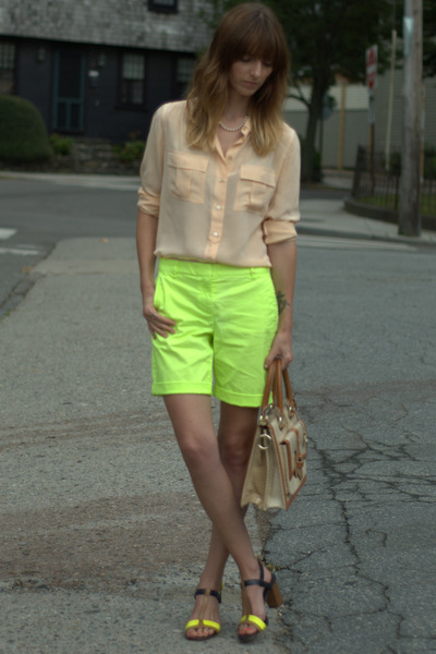 yellow neon JCrew shorts - ivory leather brahmin bag - neutral silk JCrew blouse