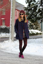 navy wool Old Navy coat - brick red skinny jeans Paige Denim jeans