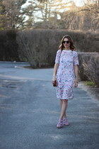 light pink floral asos dress - white crossbody brahmin bag