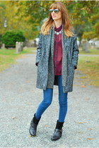 brick red buffalo check Marshalls blouse - black franco sarto boots