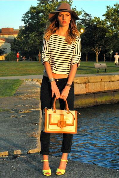 black black vintage jeans - black striped shirt Zara shirt