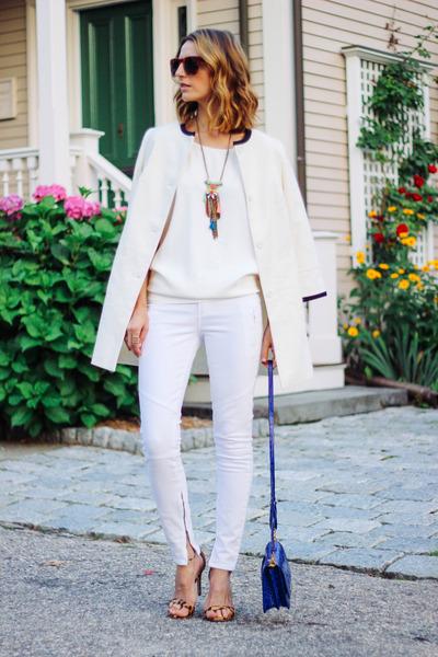 white cocoon talbots coat - white skinny Paige Denim jeans