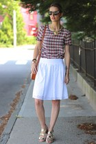 white eyelet talbots skirt - light pink silk JCrew top