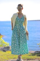 aquamarine vintage Laura Ashley dress - white knit Chicwish sweater