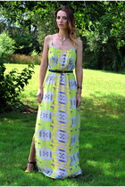 yellow Marshalls dress - navy vintage belt