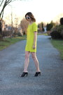 Black-mules-french-connection-shoes-lime-green-shift-darling-dress