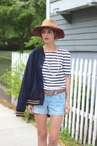 white striped Old Navy shirt - light blue denim Old Navy shorts