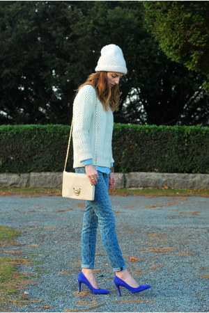 navy leopard print rag & bone jeans - white cable knit Marshalls sweater