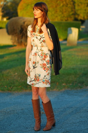 light brown leather JCrew boots - Darling Clothes dress