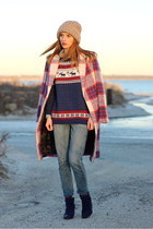ruby red plaid Zara coat - navy suede Aldo boots - blue boyfriend goldsign jeans