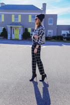 black ankle boots French Connection boots - black checked asos sweater