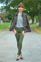 olive green skinny Paige Denim jeans - army green JCrew jacket