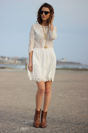brown ankle boots JCrew boots - white embroidered Dolce Vita dress