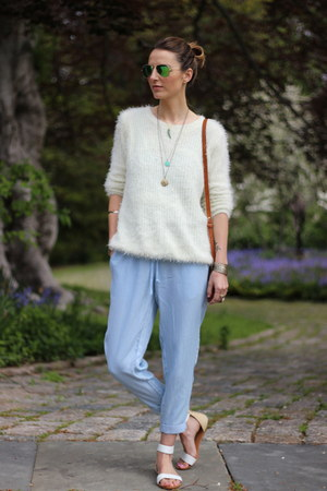 white knit Chicwish sweater - white raffia brahmin bag