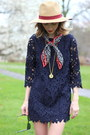 Navy-lace-darling-dress-neutral-panama-hat-david-young-hat
