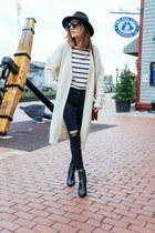 white cardigan Lookbook sweater - black ankle Rachel Zoe boots