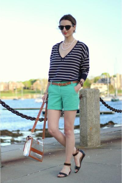 green seersucker JCrew shorts - navy striped French Connection sweater