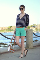 green seersucker JCrew shorts - navy striped French Connection sweater