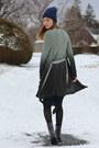 Black-lace-up-justin-boots-dark-green-midi-marshalls-dress