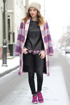 black skinny J Brand jeans - white plaid Zara coat - black leather Lulus sweater