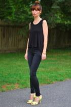 black J Brand jeans - black tank TJ Maxx shirt - yellow patent neon Theory heels