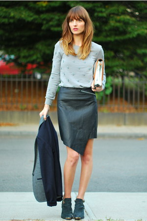 black faux leather Marshalls skirt - heather gray jeweled JCrew sweater