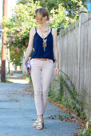 navy silk JCrew top - light pink skinny Joes Jeans jeans