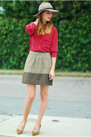 crimson silk Equipment blouse - brown check JCrew skirt