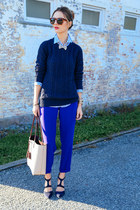 navy cable knit Nautica sweater - blue striped JCrew shirt
