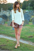 white knit cynthia rowley sweater - camel ankle franco sarto boots
