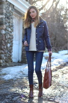 brown leather Elaine Turner boots - navy waxed Old Navy jacket
