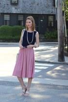 red midi asos skirt - navy crop top TJ Maxx top