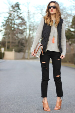 black distressed Paige Denim jeans - heather gray knit Gap sweater