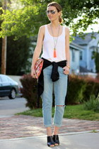 white tank top madewell top - sky blue boyfriend jeans J Brand jeans