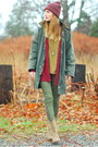 Green-skinny-paige-denim-jeans-brick-red-knit-beanie-old-navy-hat