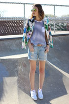 blue blazer Zara jacket - white striped JCrew shirt