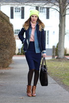 navy pencil skirt TJ Maxx skirt - brown ankle boots Sole Society boots