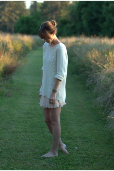 white knit cynthia rowley sweater - neutral chiffon Urban Outfitters dress